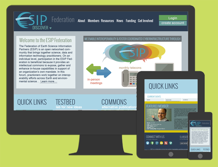 Responsive web design for esipfed.org on the Drupal platform.